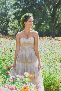 Rustic modern vintage wedding at Boone Hall Plantation in Charleston, SC featured on Borrowed & Blue. Bride opted for champagne BHLDN wedding gown and floral crown. Photographed by Charleston wedding photographer Priscilla Thomas.