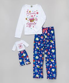 Look what I found on #zulily! White & Blue Cupcake Pajama Set & Doll Outfit - Toddler & Girls by Dollie & Me #zulilyfinds