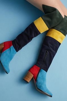 Slide View: 1: Anthropologie Colorblock Knee-High Boots