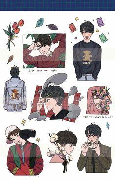 Exo Stickers, Cute Stickers, Exo Anime, Anime Art, Kawaii Drawings, Cute Drawings, Exo Fan Art, Baby Drawing, Korean Art