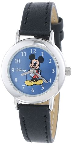 Disney Mickey Mouse Women's MCK616 Silver Case Blue Dial Black Strap Watch * Click image for more details. (This is an Amazon Affiliate link and I receive a commission for the sales)