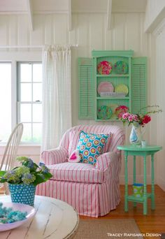 pink and green cottage chic, shabby chic, Tracey Rapisardi Style Cottage Style Decor, Beach Cottage Style, Beach House Decor, Diy Home Decor, Cottage Living Rooms, Cottage Interiors, Living Room Decor, Cottage Bedrooms, Small Bedrooms