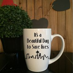 Items similar to It's A Beautiful Day to Save Lives Coffee Tea Mug//Grey's Anatomy Inspired on Etsy Greys Anatomy Mug, Greys Anatomy Gifts, Greys Anatomy Scrubs, White Coffee Mugs, Coffee Cups, Tea Cups, Grey's Anatomy Merchandise, Tv Movie, Birthday Gifts For Best Friend