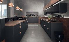 Küche in Schwarz, Kupfer, Metal und Schwarz, Design, Küchenidee, Küchenfronten Fotocredit: rational einbauküchen