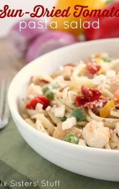 This pasta salad is a great dish for all your summer barbecues and gatherings! The sundried tomatoes and Greek vinaigrette make a great combo your whole family Homemade Pasta Salad, Tomato Pasta Salad, Tortellini Salad, Pasta Salad Recipes, Spicy Chicken Rigatoni, Rigatoni Recipes, Cooking Recipes, Healthy Recipes, Soup And Salad