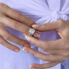 d1fb8ae76 Our CHELSEA design set in Platinum with a Carats Radiant center stone,  paired with the CHELSEA wedding band in Platinum, lined with white pavé  diamonds.