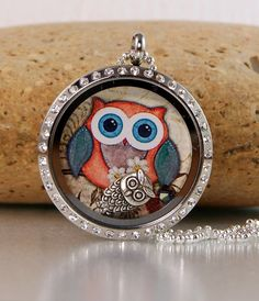 Memory Floating Charm Locket Necklace - Owl