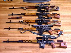 Dragunov SVD rifles, I must confess to an aesthetic appreciation of thees rifles. Im English, I shall never own one and I'm glad we have amazingly low fun crime. My heart goes out to the US of A all too often
