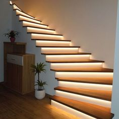 Minimalist interior staircase: enjoy a refined and modern interior .- Minimalist interior staircase: enjoy a refined and modern decor – interior – stairs Stairway Lighting, Strip Lighting, Outdoor Lighting, Exterior Lighting, Club Lighting, Lighting Stores, Linear Lighting, Backyard Lighting, Ceiling Lighting