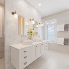 hamptons bathroom The G. Gardner Wollongong team have perfectly utilised a light colour palette to create a spacious bathroom. Budget Bathroom, Laundry In Bathroom, Small Bathroom, Bathroom Ideas, Bathroom Remodeling, Modern Bathroom, Master Bathroom, Bathroom Styling, Bathroom Interior Design