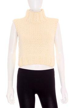 Jersey de punto corto. Perfecto para 2015!! Chaleco Mujer de Punto 18,95€ - Esteve en Blanco Cuello Alto de Segunda Mano  www.ropasion.com