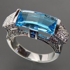 14k White Gold Fancy Cut Blue Topaz Sapphires & 1.40 Ctw Diamonds Cock – Gold Stream Boutique