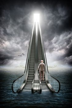 A piece of fine art art photography titled Knocking On Heaven´s Door by Ralf Mack Stairway To Heaven, Fantasy Kunst, Fantasy Art, Creative Photography, Art Photography, Surrealism Photography, Surreal Art, Oeuvre D'art, Photo Manipulation