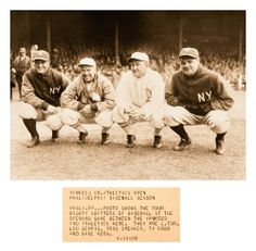 "The Four Mighty Swatters Of Baseball 86 Years Ago Today - Philadelphia - April 11, 1928 Newsreel Photo: ""Phila.PA - Photo shows the four mighty swatters of baseball at the opening game between the Yankees and Athletics here. They are (L-R) Lou Gehrig, Tris Speaker, Ty Cobb and Babe Ruth."" -..."