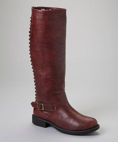 Take a look at this Wine Pyramid Stud Alba Boot by Liliana Footwear on #zulily today! cute boots for $34.99 esp if you don't wear leather