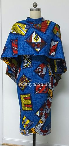 Two-Piece African Print Fitted Midi Dress. by NanayahStudio