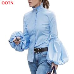 95eb45b399d4 OOTN Long Wide Lantern Sleeve White Blue Blouse Women Button Down Shirts  Female 2018 Spring Winter