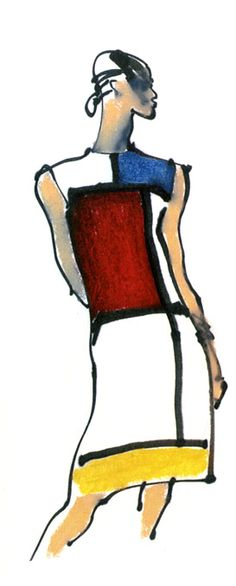 Yves Saint Laurent fashion illustration, Mondrian Collection, 1965, Kenneth Paul Block