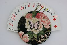 The Amazing Mr. Handy Handheld Playing Card Holder - Floral Design - pinned by pin4etsy.com