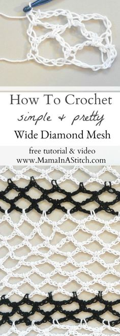 How To Crochet Diamond Mesh Stitch via Mama In A Stitch Knit and Crochet Pattern. - Freeform crochet - The Dallas Media Crochet Stitches Patterns, Crochet Designs, Stitch Patterns, Knitting Patterns, Knit Stitches, Tunisian Crochet, Crochet Shawl, Knit Crochet, Crochet Sweaters