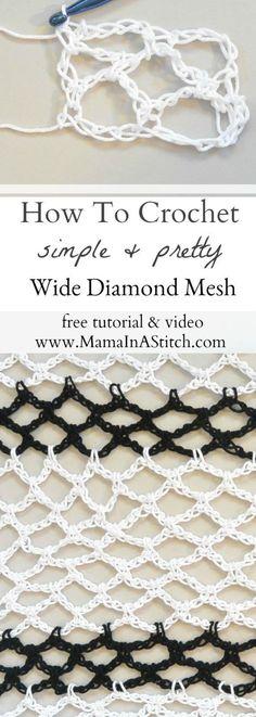 How To Crochet Diamond Mesh Stitch via Mama In A Stitch Knit and Crochet Pattern. - Freeform crochet - The Dallas Media Crochet Stitches Patterns, Crochet Designs, Stitch Patterns, Knitting Patterns, Knit Stitches, Crochet Simple, Love Crochet, Double Crochet, Tunisian Crochet
