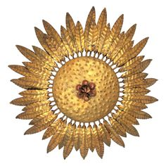 1960s Spanish Hand-Hammered Gilt Iron Flower Burst Ceiling Flush Mount