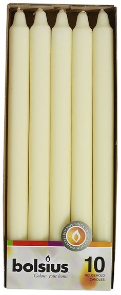Bolsius 12 Inch Ivory Household Taper Candle Set of 10 * Click on the image for additional details.