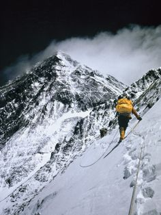 Climbers, 25,000 feet up, push on toward the summit of Mount Everest (Barry Bishop)