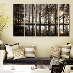 Stretched Canvas Art Landscape Trees in the Village Set of 5