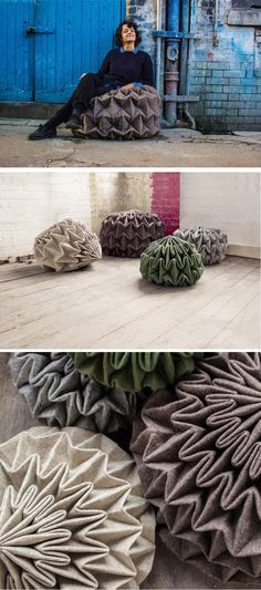 Designer Jule Waibel has created Cones: Unfolded Seats, a collection of seats that play on the idea of unfolding a stone.