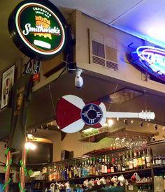 Wichita flag guitar at the Artichoke. Wichita Flag, Indian Symbols, Come And Go, Kansas, Artichoke, Mixed Media, Guitar, Restaurant, Elegant