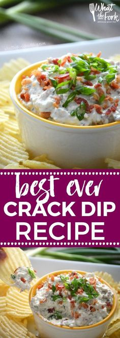 Super Easy Crack Dip - a sour cream based dip with ranch dip mix, cheese and bacon. Totally addicting! Crack Dip Pinterest recipe from /whattheforkblog/ | http://whattheforkfoodblog.com | crack dip cold | crack dip recipes | crack dip recipe | cheesy crack dip | crack dip with bacon | how to make crack dip | what is crack dip | award winning crack dip | game day recipes | gluten free appetizer recipes | gluten free dip recipes | easy dip recipes | via /whattheforkblog/