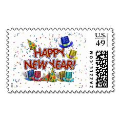 Happy New Years Text w/Party Hats & Confetti Postage Stamp