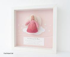 Taufgeschenke, Babygeschenke, Schutzengel Bild, gefilzter Engel Wolke rosa 1