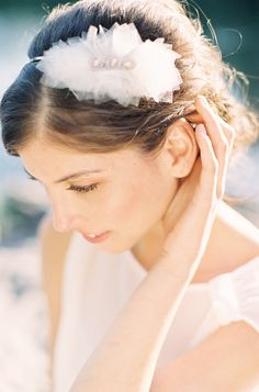 tulle, silver and pearl head band: Audra | Hushed Commotion