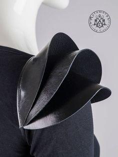 Fashion Shoulder pad Black leather epaulet pauldron by MetamorphDK