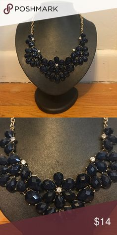 Statement Necklace from Francesca's Never worn. Navy blue statement necklace. Francesca's Collections Jewelry Necklaces