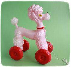 Poodle pull toy vintage toys Vintage Wolverine Strawberry Tin Tea Set old toys Kitsch, Photo Vintage, Vintage Dog, Vintage Magazine, Pink Poodle, Pull Toy, Electronic Toys, Oui Oui, Old Toys