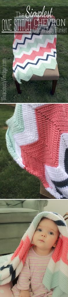 Quick And Easy Crochet Blanket Patterns For Beginners: Chevron Crochet Baby Blanket.