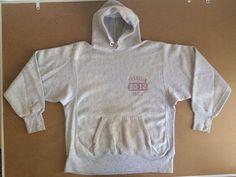 Vintage CHAMPION REVERSE WEAVE Sweatshirt Hood One Color Tag Blue Triblend Track #Champion #Hoodie