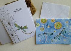 Set of Two Dragonfly Happy Birthday Believe by DreanasDragonflyPie