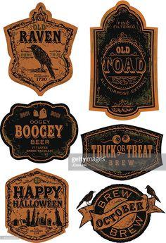 Vector Art : Orange and black Set of old fashioned Halloween beer labels Halloween Party Drinks, Halloween Bottle Labels, Halloween Treats, Halloween Fun, Halloween Supplies, Party Supplies, Witch Potion, Food Picks, Jar Labels