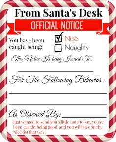 Elf behavior printables
