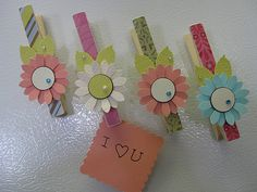 What a great idea. Cute clothes pin magnets would go great on a memo board in a little girl's room.