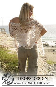 Ponchos & Shawls - Free knitting patterns and crochet patterns by DROPS Design Lace Patterns, Knitting Patterns Free, Free Knitting, Free Pattern, Crochet Patterns, Knitted Shawls, Crochet Scarves, Crochet Shawl, Drops Design