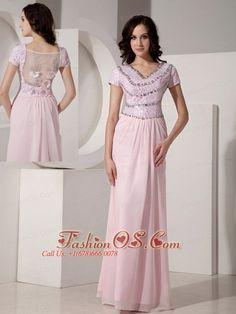 Simple Baby Pink Empire V-neck Evening Dress Chiffon Beading Floor-length- $148.69
