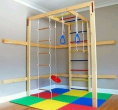 Kids Christmas Gift Ideas - Classy Clutter Great for winter in the basement. DIY indoor kids gym (easy and frugal)Great for winter in the basement. DIY indoor kids gym (easy and frugal) Diy Christmas Gifts For Kids, Diy For Kids, Frugal Christmas, Christmas Ideas, Indoor Jungle Gym, Toddler Jungle Gym, Kids Basement, Basement Ideas, Unfinished Basement Playroom