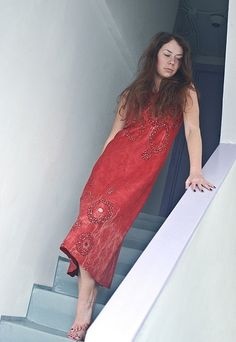 Eco style and boho chic fashion red felted dress from natural silk and A-Grade wool (with hand embroidery) OOAK