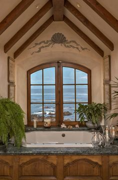 Spa Bath with ocean views. and with a view like that, who cares what the bathroom looks like. Cottage Style Bathrooms, Cottage Bath, French Country Cottage, French Country Style, French Decor, French Country Decorating, Through The Window, Stone Houses, Windows And Doors