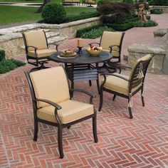 Woodard Sheridan Cushion Patio Dining Set Seats 4 3635 99